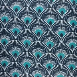 Coated cretonne cotton fabric - celadon Ramos x 10cm