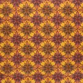 Coated cretonne cotton fabric - mustard yellow Vecchio x 10cm