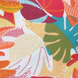 Coated cretonne cotton fabric - orange Andy x 10cm