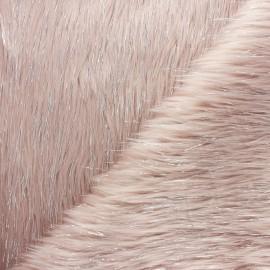 Tissu fourrure lurex - rose pâle x 10cm