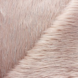 Lurex fur fabric - pale pink x 10cm