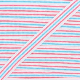 22mm ribbon - blue/neon pink Stripes x 1m
