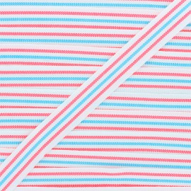 Ruban Stripes 22mm - bleu/rose fluo x 1m
