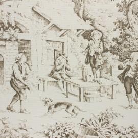 Tissu toile de Jouy Festin - crème x 10cm