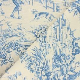 Tissu toile de Jouy Festin - bleu x 60cm