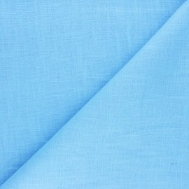 Tissu ramie uni - bleu x 10cm