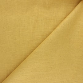 Plain ramie fabric - mustard yellow x 10cm
