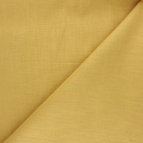 Plain ramie fabric - mustard yellow x 10cm