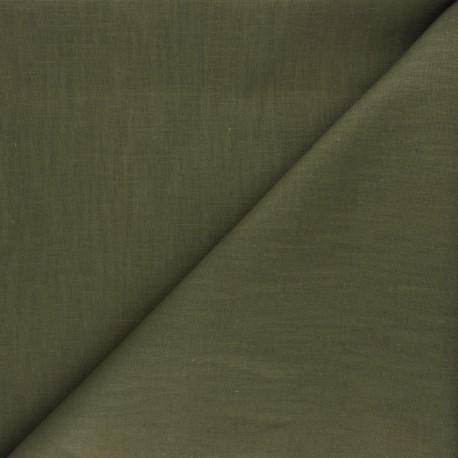 Plain ramie fabric - khaki green x 10cm