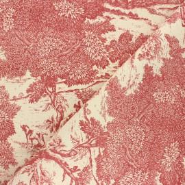 Tissu toile de Jouy Versailles - rouge x 64cm