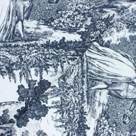 Tissu toile de Jouy Versailles - noir x 64cm