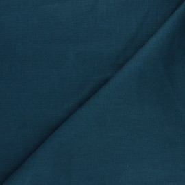 Plain ramie fabric - duck blue x 10cm