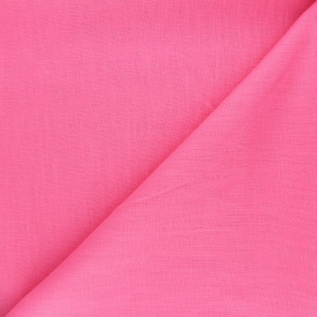Tissu ramie uni - rose x 10cm