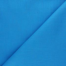 Plain ramie fabric - turquoise blue x10cm