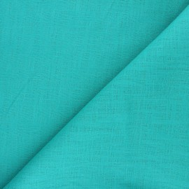 Plain ramie fabric - aqua green x10cm