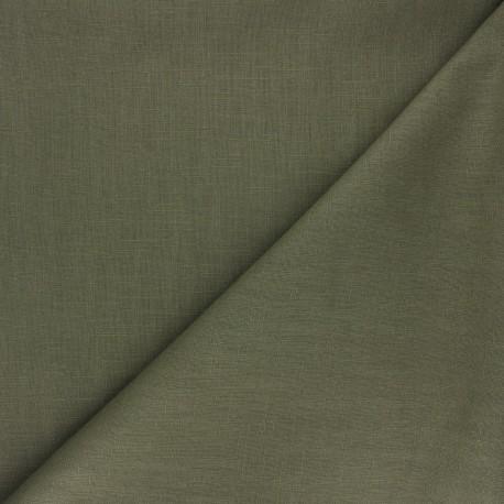 Plain ramie fabric - olive green x 10cm