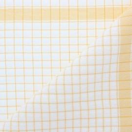 Tissu torchon gaufré à carreaux - jaune x 91cm