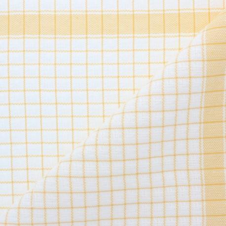 Tissu torchon gaufré à carreaux - jaune x 10cm