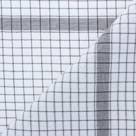 Tissu torchon gaufré à carreaux - gris x 91cm