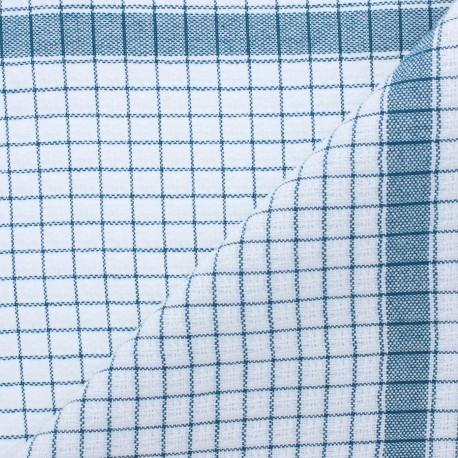 Tissu torchon gaufré à carreaux - bleu canard x 91cm