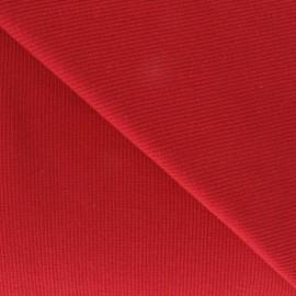 Tissu jersey tubulaire bord-côte 1/2 rouge x 10cm