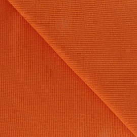 Tissu jersey tubulaire bord-côte 1/2 orange x 10cm