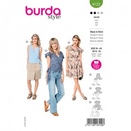 Blouse and dress sewing pattern - Burda Style n°6122
