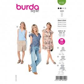 Patron blouse et robe cache cœur Femme - Burda n°6122