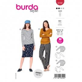Patron t-shirt col V Femme - Burda n°6102