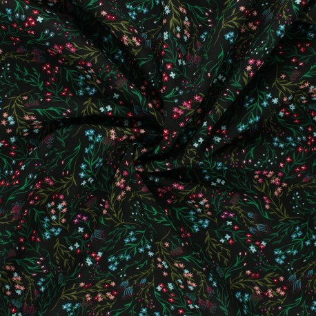 AGF poplin cotton fabric - The flower society - Windswept nocturnal x 10cm