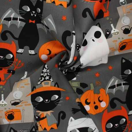 Tissu coton Alexander Henry Costume kitty - gris x 10cm