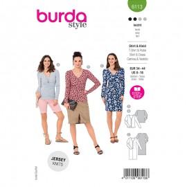Patron t-shirt et robe froncées Femme - Burda n°6113
