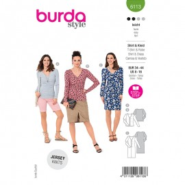 Pleated dress and t-shirt sewing pattern - Burda Style n°6113