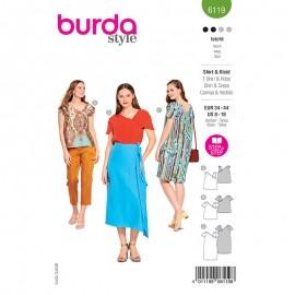 Patron t-shirt et robe asymétriques Femme - Burda n°6119
