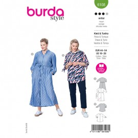 Plus size shirt and dress sewing pattern - Burda Style n°6108