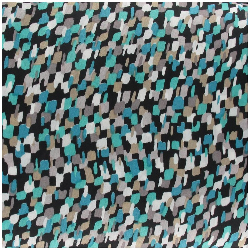 Tissu mousseline mosaïque turquoise x 50 cm - Ma Petite Mercerie