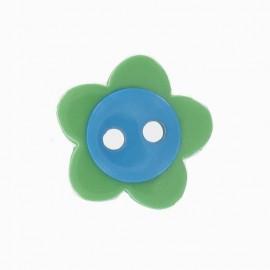 Bouton fleur bicolore vert/turquoise