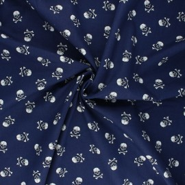 Poplin cotton fabric - navy blue Little skully x 10cm