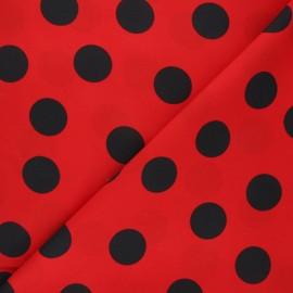 Tissu polyester Dotty foly - rouge/noir x 10cm