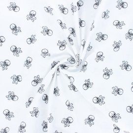 Poplin cotton fabric - white Little skully x 10cm