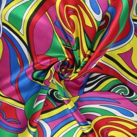 Tissu satin polyester Sixties - multicolore x 10cm