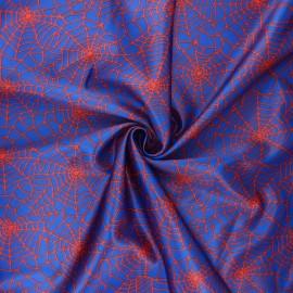 Tissu satin polyester Spider web - bleu x 10cm