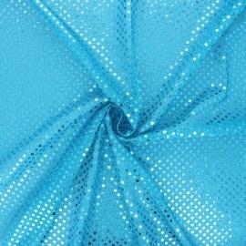 Tissu paillettes Carnaval - bleu turquoise x 10cm