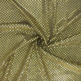Tissu paillettes Carnaval - noir/doré x 10cm