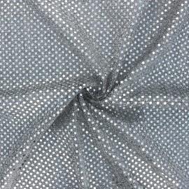 Tissu paillettes Carnaval - noir/argenté x 10cm