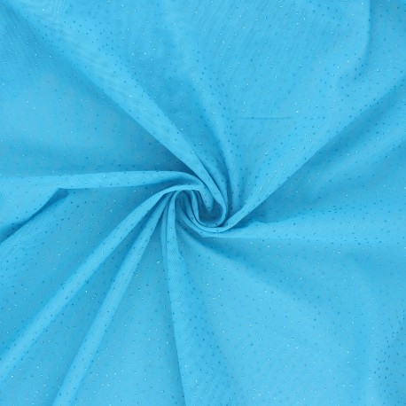 Elastic tulle fabric - glittery blue x 10 cm