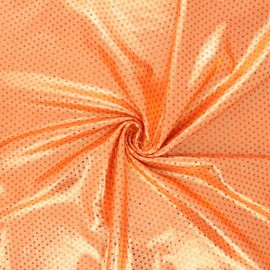 Metallic lycra fabric - orange Super trouper x 10cm