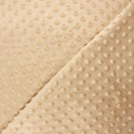 Tissu velours minkee doux relief à pois Eva - beige x 10cm