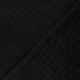Tissu velours minkee doux relief à pois Eva - noir x 10cm