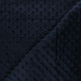 Tissu velours minkee doux relief à pois Eva - bleu nuit x 10cm